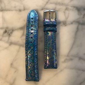 Michele 18mm Iridescent Miami Blue Snakeskin Strap
